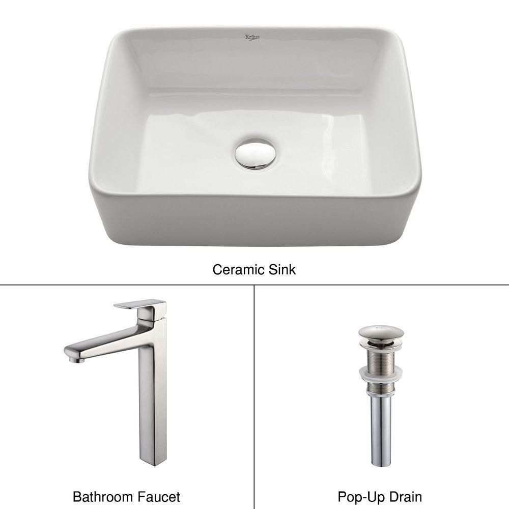 Rectangular Ceramic Vessel Sink in White with Virtus Faucet in Brushed Nickel